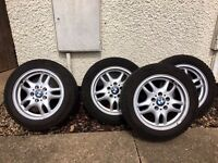 Bmw alloy wheels 205 /55/16 good condition winter dunlop tyres £125