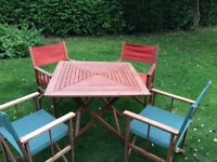 Garden Furniture 4 Director chairs and wooden table