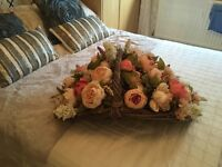 Stunning wedding flower basket and six vases