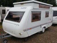 2002 Rapido Club 40 TCA Evolution Pop Top Caravan with awning and Omnistor wind out awning