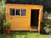 "Attractive Beaver Timber Garden Shed (10"" x 8"") with triple windows to front and side 5 months old"
