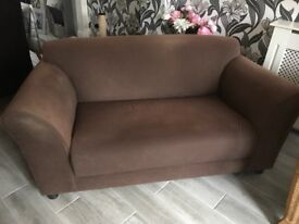 Free brown 2 seater settee and chair