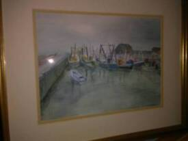 ORIGINAL WATER COLOUR OF SAILING BOATS , AT THE HARBOUR WALL, IN GOLD FRAME