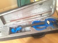 4/4 Blue electric violin, hardly used, excellent condition, with bow and case