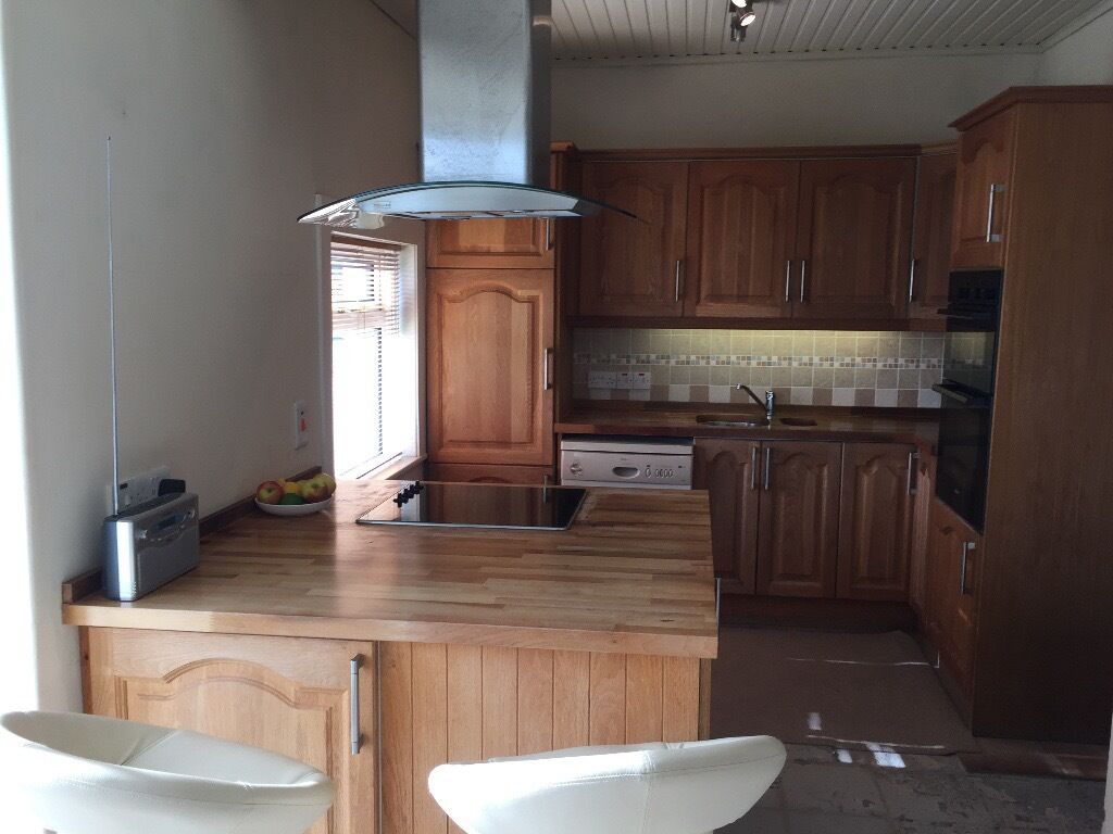 Solid Oak kitchen for sale,includes island,Hob,double oven ...