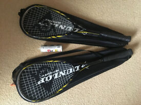 2 x Dunlop Biotec X-Lite Ti Squash Rackets + Cover + 3 Squash Balls