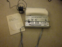 roland tb303 bassline synthesizer and manual and power supply case cv gate filter mod