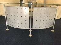 Second hand reception desk- silver with glass top and rear desk