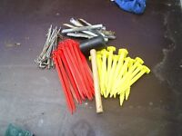 big bag of tent pegs and awning fittings + rubber mallet