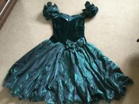 Beautiful Green velvet and chiffon cocktail dress- perfect for Prom or black tie event