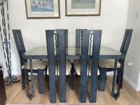 Metal With Glass Top Dining table + 6 Chairs (Matching Furniture Available)