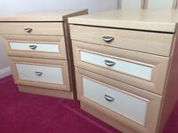 Pair of bedside cabinets (a bit scratched & chipped)