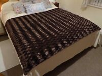 Brown Bed Throw - Sumptuously Soft + Furry for Bed or Sofa, shown on King size Bed - 180 x 130 cm