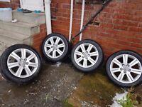 """Audi a4 17"""" alloy wheels plus tyres"""
