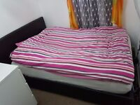 Double Bed 4ft6 Brown + Mattress