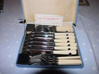 Vintage Original Set Of 6 Fish Knives And Forks Firth Weymouth