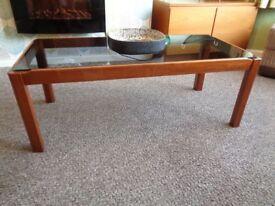 Vintage Danish Style Smoked Glass Teak Coffee Table