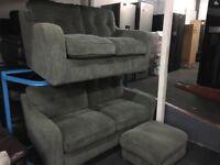 New/Ex Display John Lewis Grey 3 + 2 Seater Sofas ( Optional Footstool)