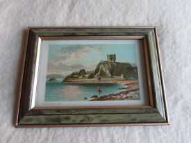 Two Framed Old Prints of Engravings of Dunollie Castle, Oban and Dumbarton Castle.