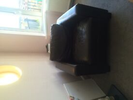 Box leather armchair, brown leather. Good condition but seat pad slightly worn. Very comfortable.