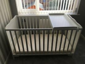 Solid Wooden Toddler Cot Bed with Top Changer & New Mattress