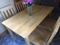 Solid hardwood table and 4 chairs