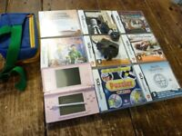 NINTENDO DS,lite PINK CONSOLE WITH 8 BOXED GAMES.