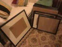 Job lot of 14 used black wooden picture frames with glass - could be painted