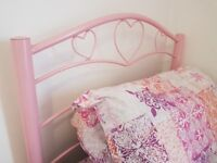 Single Bed + Brand New Sealed Sprung Mattress - Pink Painted Steel Frame with Heart Design