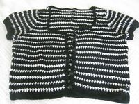 PACK OF 3 SIZE 12 HAND CROCHETED BUTTON FRONT SPRING/SUMMER CARDIGANS IN BLACK;YELLOW;BLACK/WHITE