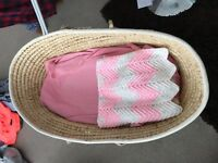 Clair de Lune rocking Moses basket with stand. In good used condition.