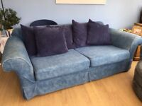 Blue 3 seater settee