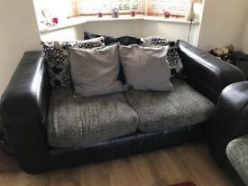 2 & 3 black and grey sofas