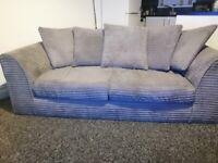 3 seater grey jumbo cord sofa