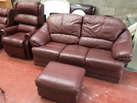 Riser Recliner, Couch & Pouffe in Burgundy