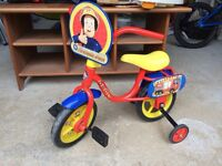 Fireman Sam bike with stabilisers