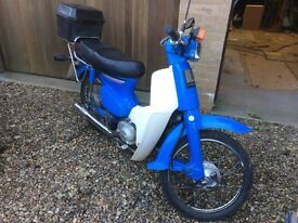 Honda C50LA-G moped with interesting no. plate. Two owners. VGC.