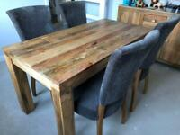 MANGO WOOD DINING TABLE AND 4 CHAIRS