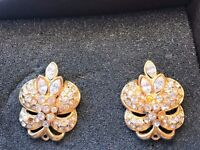 Gold Ear rings with intricate Crystal design . £15