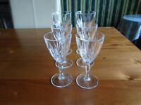 SET of 6 TYRONE CRYSTAL GLASSES, 4 LIQUER + 2 SHERRY from the 80's, ONLY USED as a DISPLAY LIKE NEW