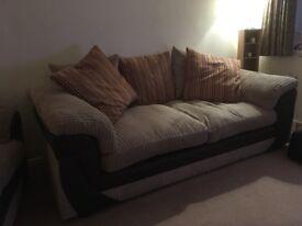 Large two seater corduroy sofa
