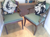 Vintage wooden ?library chairs (2)