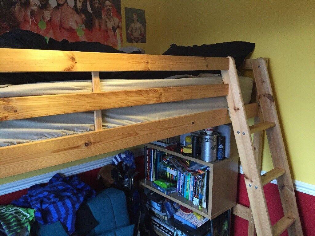 Wooden High Sleeper Bunk Bed Including Matress