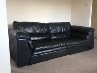 Natural leather black 3 & 2 seater sofas