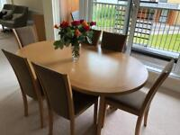 Skovby Extendable Dining Table, 6 chairs and matching sideboard