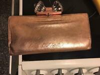 Ted baker / metallic bronze purse.