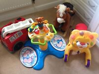 Dancing tower, lion, rocking horse and fire engine
