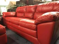 Ex display red 3 seater sofa chair and stool