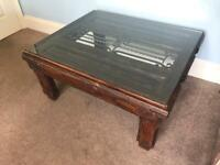 Vintage Unique Rustic Mexican Pine Spanish Coffee Table Glass Top Detailed Wrought Iron Centre Piece