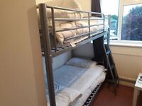 Metal bunk beds and mattresses